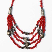 Multi Strand Coral Red Tibetan Silver Necklace