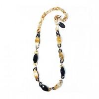 Ivory Mocha Leopard Tortoise Long Chain Necklace