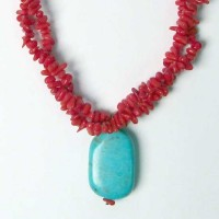 Double Strand Red Coral Turquoise Nugget Pendant Necklace
