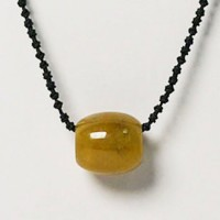 Stylish Yellow Jade Ring Silk Cord Choker Necklace