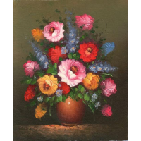 Oil Painting of colorful Floral Arrangement