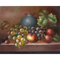 A Still Life Oil Painting of Fall Harvest