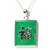 18k White Gold Emerald Green Jade Pendant