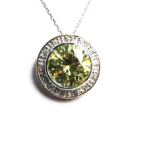 Sparkling Green Stud Gold Vermeil Pendant Necklace