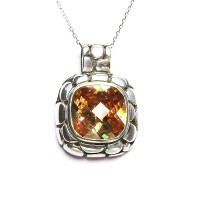 Dot Silver Jumbo Citrine Cz Pendant Necklace