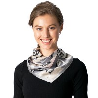 Grey Pink Checkerboard Silk Square Neckerchief Scarf
