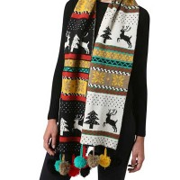 Multi Color Black Christmas Tree PomPom Holiday Scarf