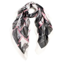 Traveling New York Print Cotton Long Scarf