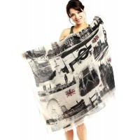 Traveling London Print Cotton Long Scarf