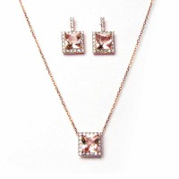 Rose Cz Crystal Silver Pendant Necklace Earring Set