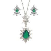 Green Quartz CZ Silver Pendant Earring Set