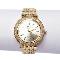 Jumbo Round Cz Gold Stainless Metal Band Watch