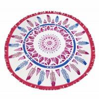 Pink Tribal Print Fringe Tassels Beach Towel Blanket Yoga Mat