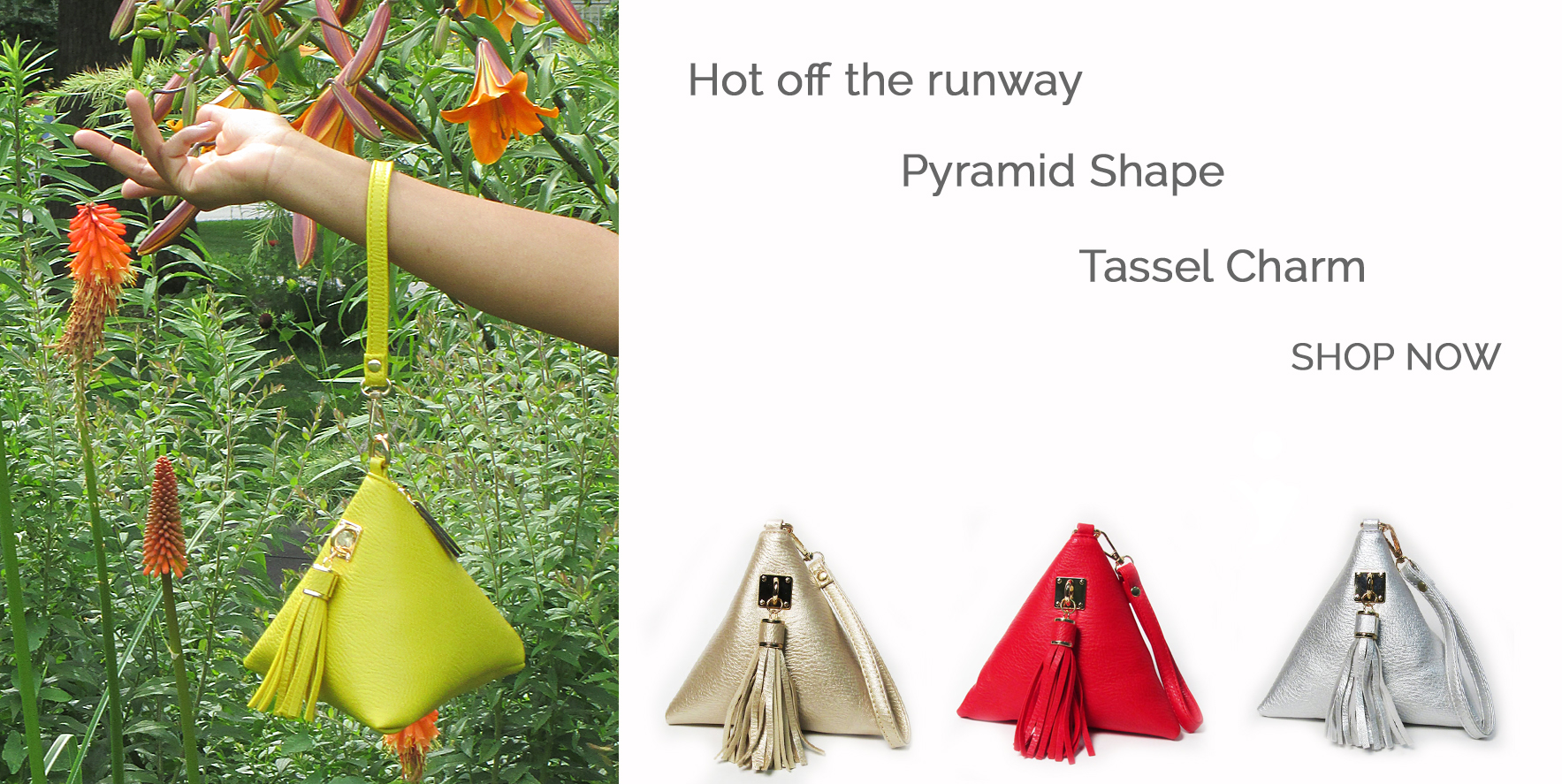 """Triangle"" Shape Tassel Wristlet Bag"