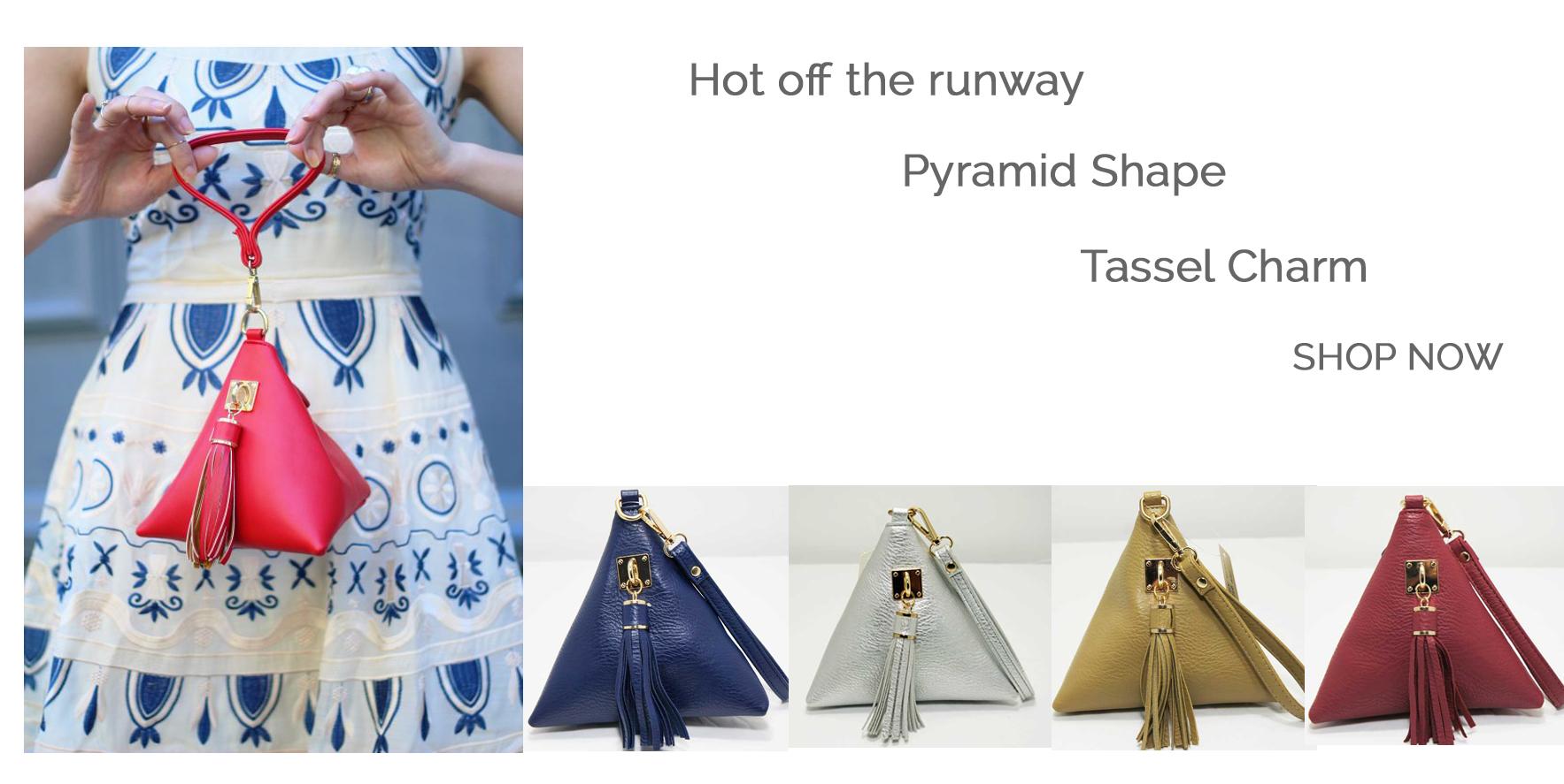 """Triangle"" Shape Tassel Wristlet Bag"