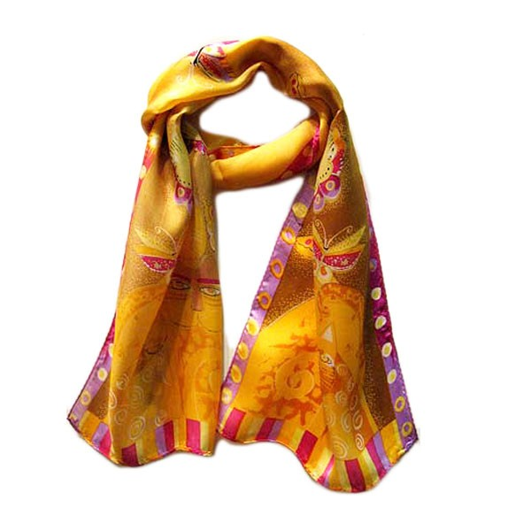 WHIMSICAL TRIO OF CALICO CATS MARIGOLD YELLOW 100% SILK SCARF
