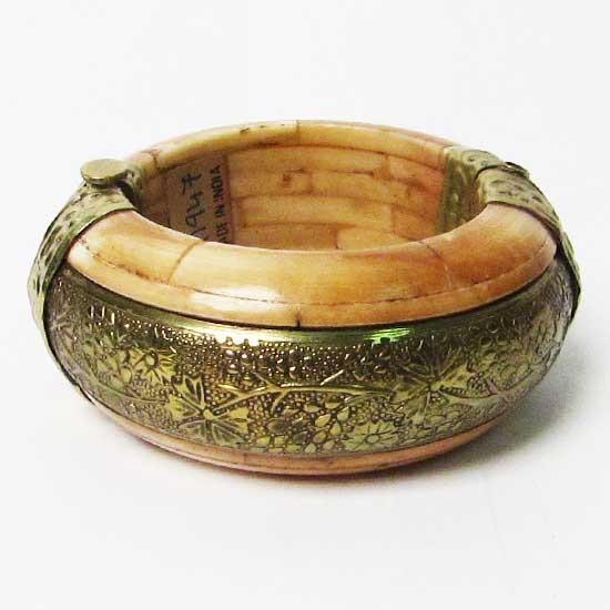 Genuine Bone Brass Trim Statement Bangle Bracelet