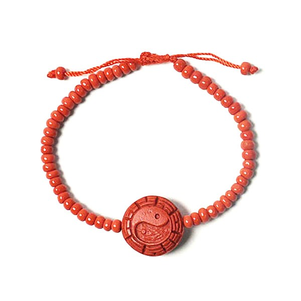 Bold Cinnabar Red Yin Yang Bracelet