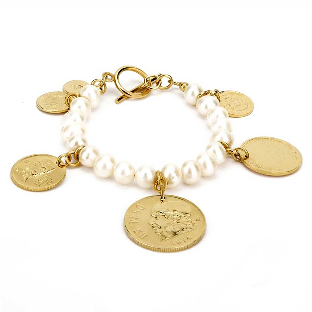 Stunning 22k Gold Coin Pearly Link Bracelet