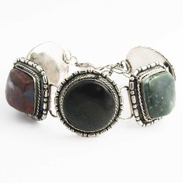 Genuine Stone Silver Trim  Link Bracelet