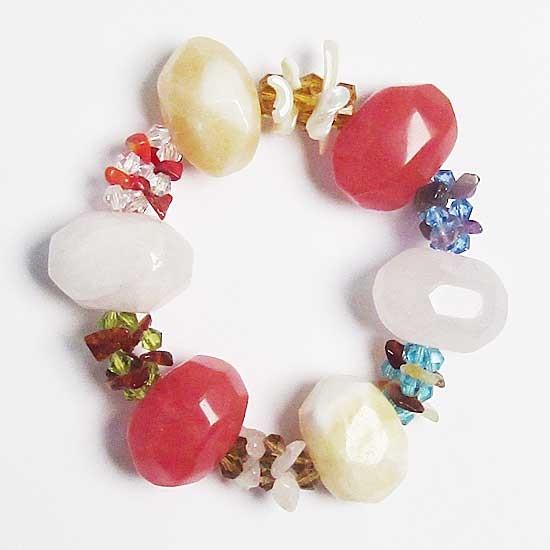 Multi Color Quartz Gem Stones Chips Stretchy Bracelet