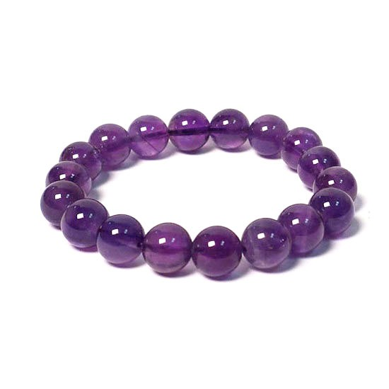 Handcrafted Amethyst Beads Stretchy Bracelet