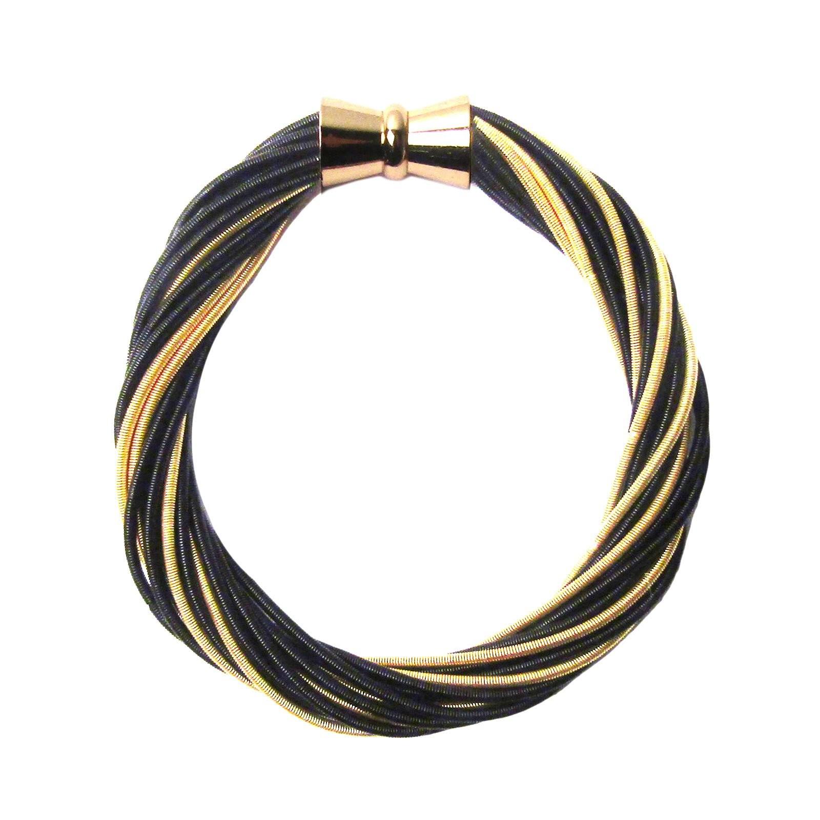 Handcrafted Gold Black Multi Strand Twist Piano Wire Bracelet