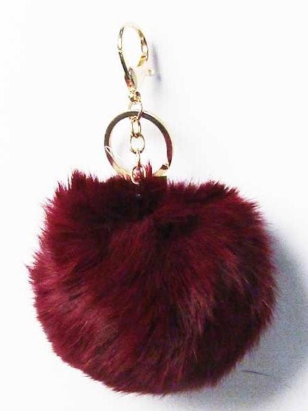 "3.5"" Furry Pom Bag Charm Key Chain"