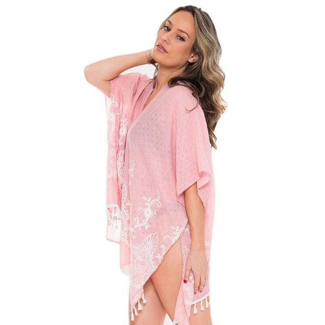 Pink Embroidery Floral Tassel Cover Up Cardigan Vest
