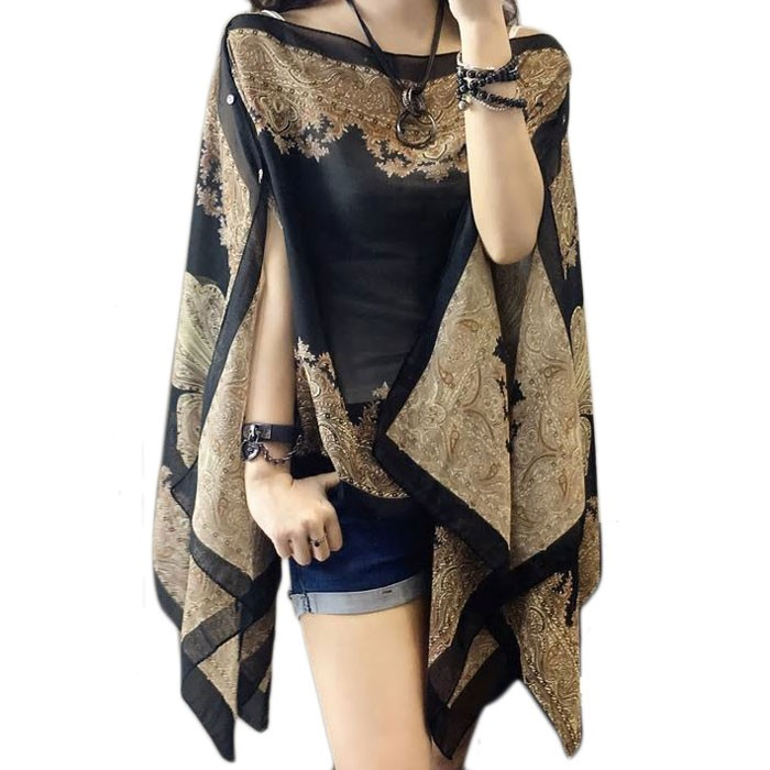Gorgeous Black Paisley Pearly Floral Cover Up