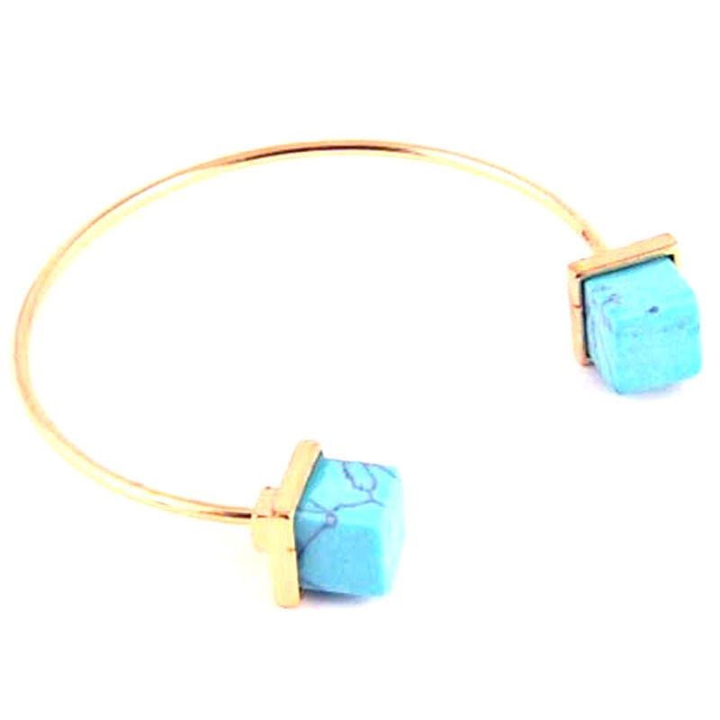 Turquoise Gold Wire Cuff