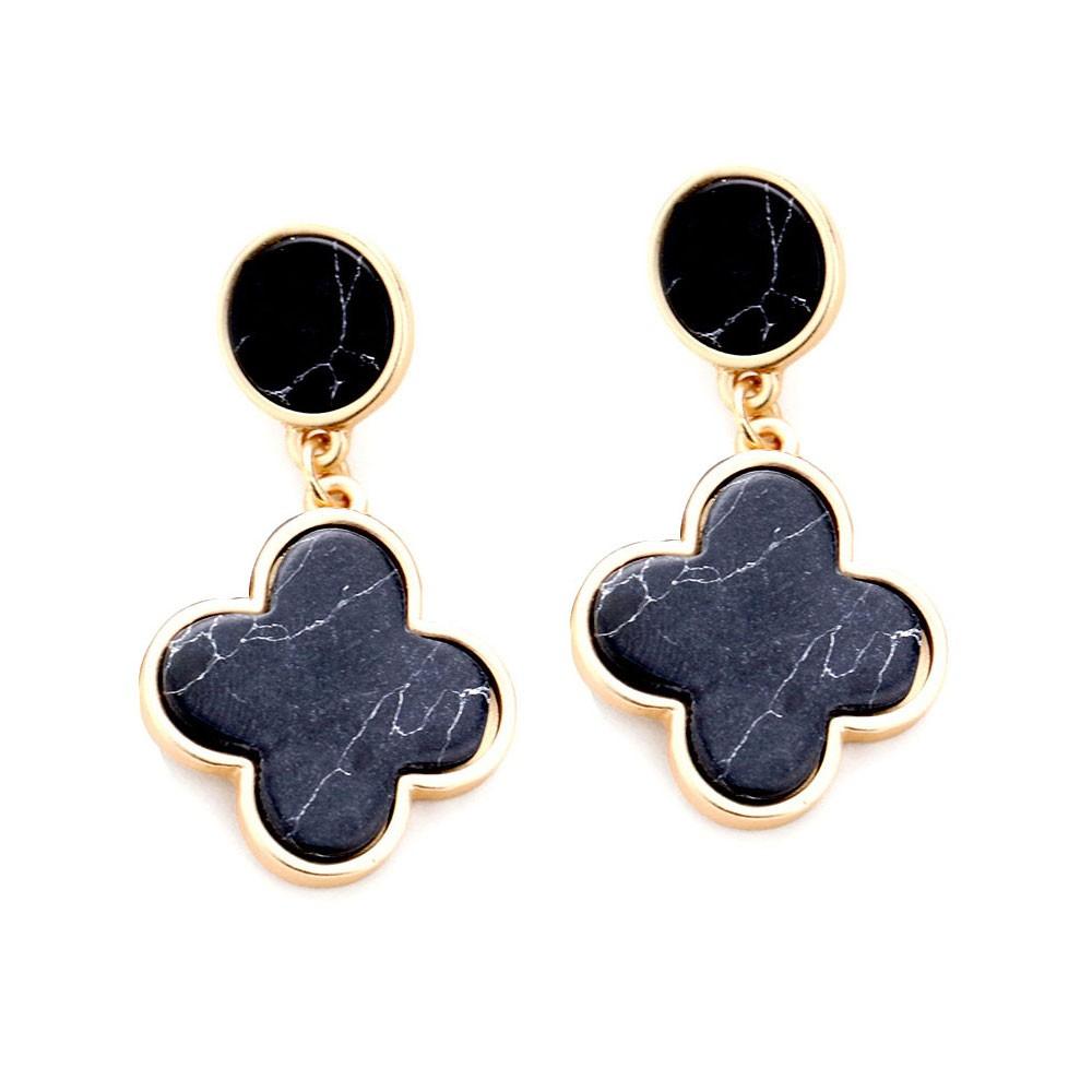 Chic Black Quatrefoil Clover Dangle Earrings