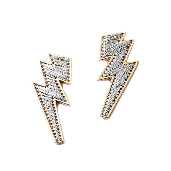Glittering Silver Lightning Bolt Earrings