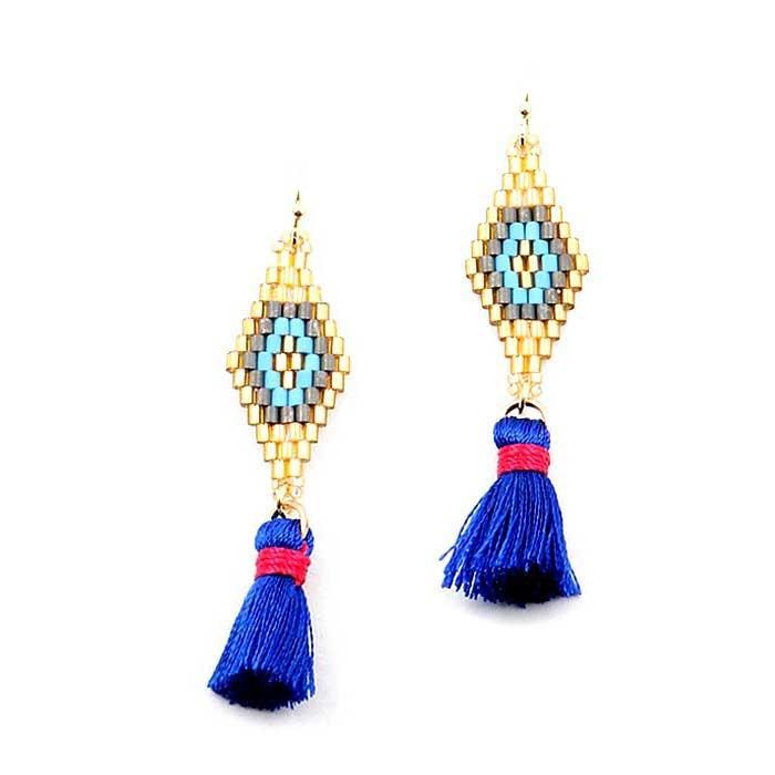 ROMANTIC SILVERY GRAY WEAVE BLUE TASSEL SHORT GOLD STATEMENT EARRINGS