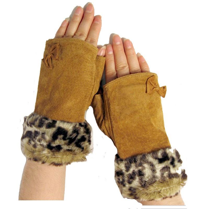Animal Fur Bow Suede Fingerless Gloves