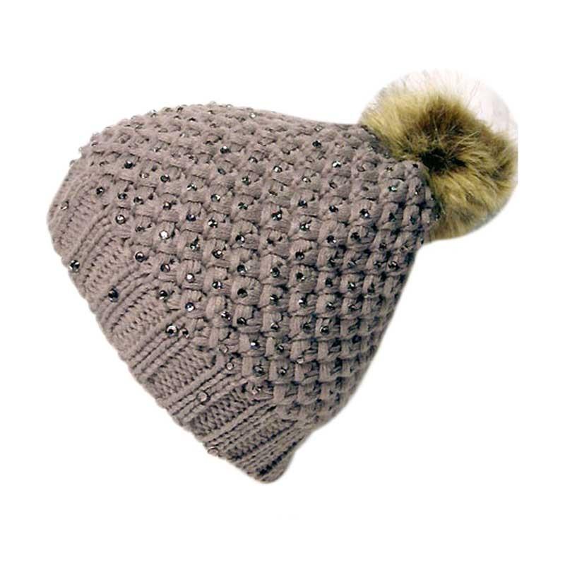 Rhinestones Diamond Knit Fur Pom-Pom Beanie Hat