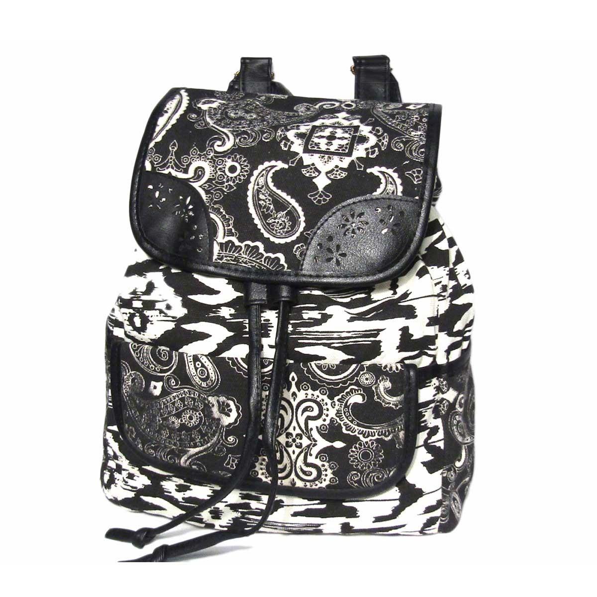 Black White Boho Geometric Backpack Bag