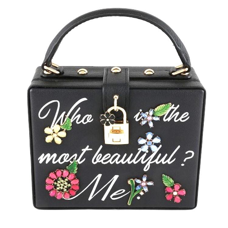 Stunning Black Multi Crystal Floral Top Handle Case Bag