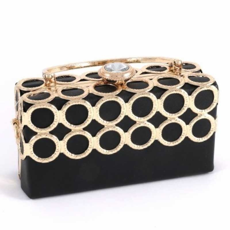 Black Rhinestone Leatherette Ring Evening Case Bag