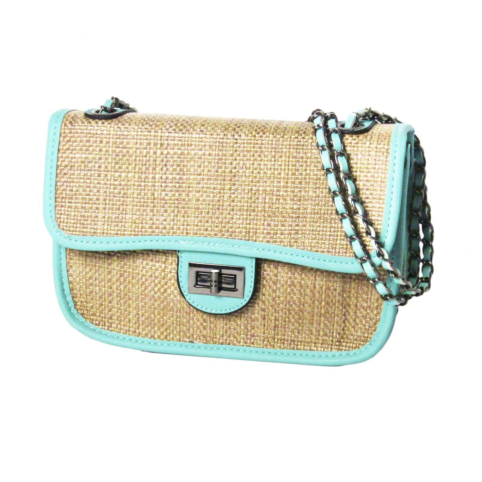 Chic Mint Trim  Double Chain Straw Cross Body Bag