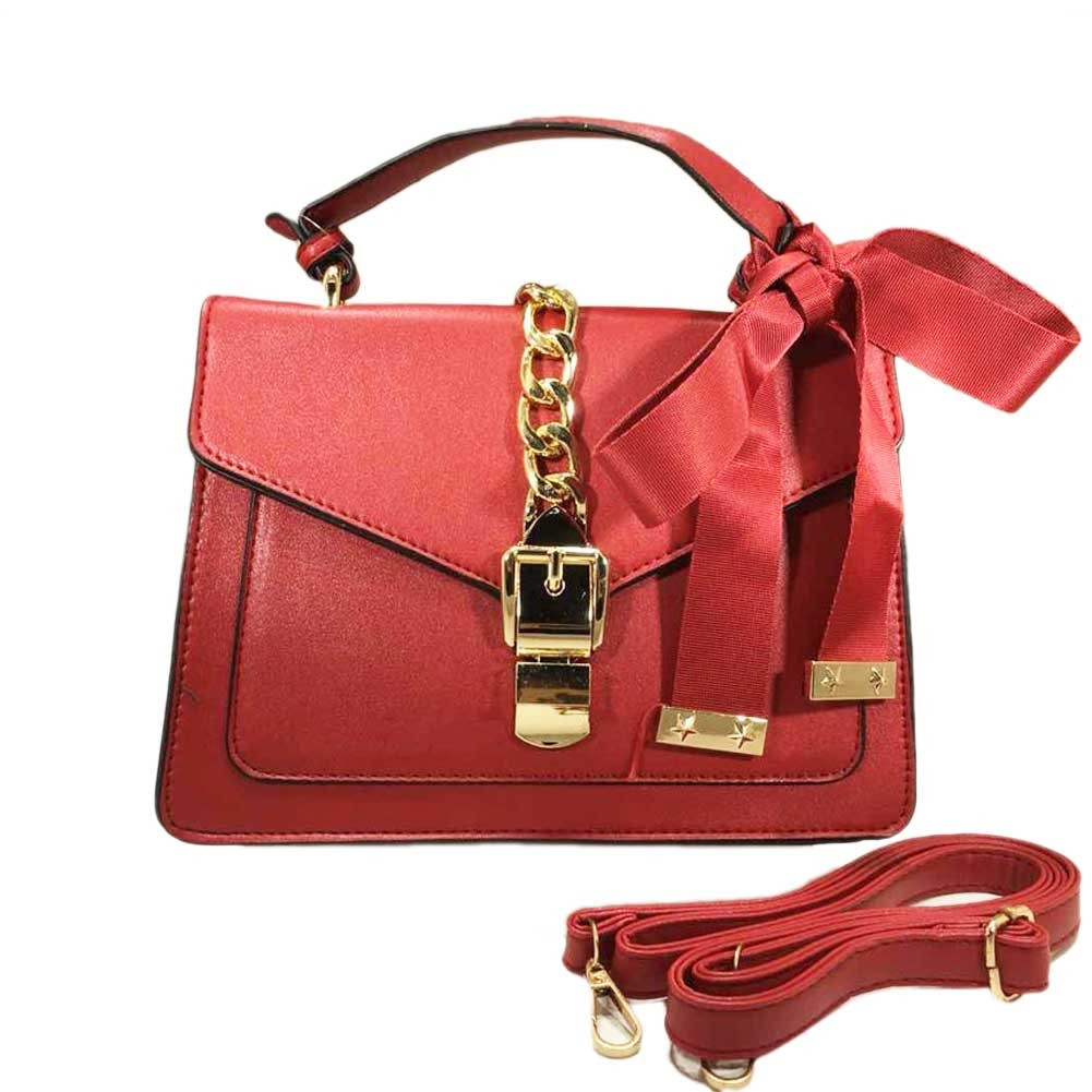Red Ribbon Chain buckle Top Handle Bag