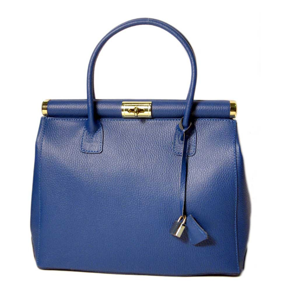 Made In Italy Cobalt Blue Genuine Leather Handbag