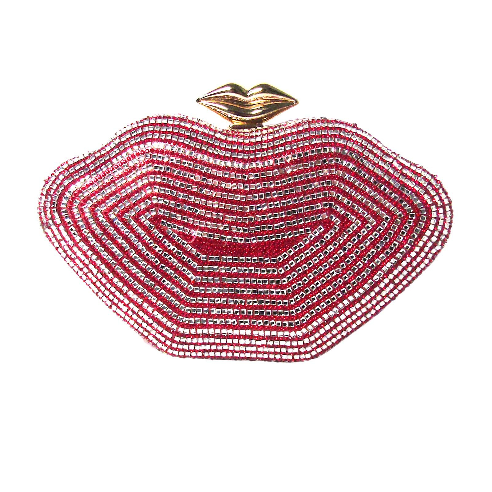 ROMANTIC RED SILVER LIP SHAPE EVENING CASE CLUTCH BAG