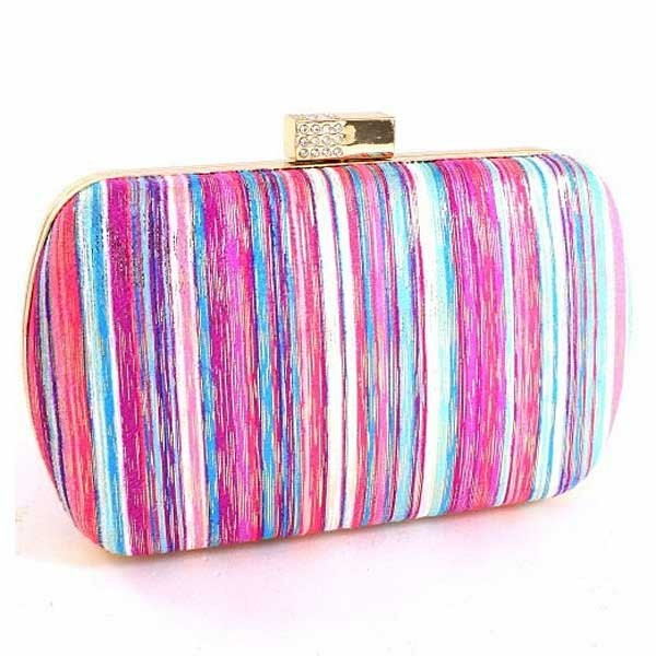Multi Purple Stripe Frame Minaudiere Evening Case Purse