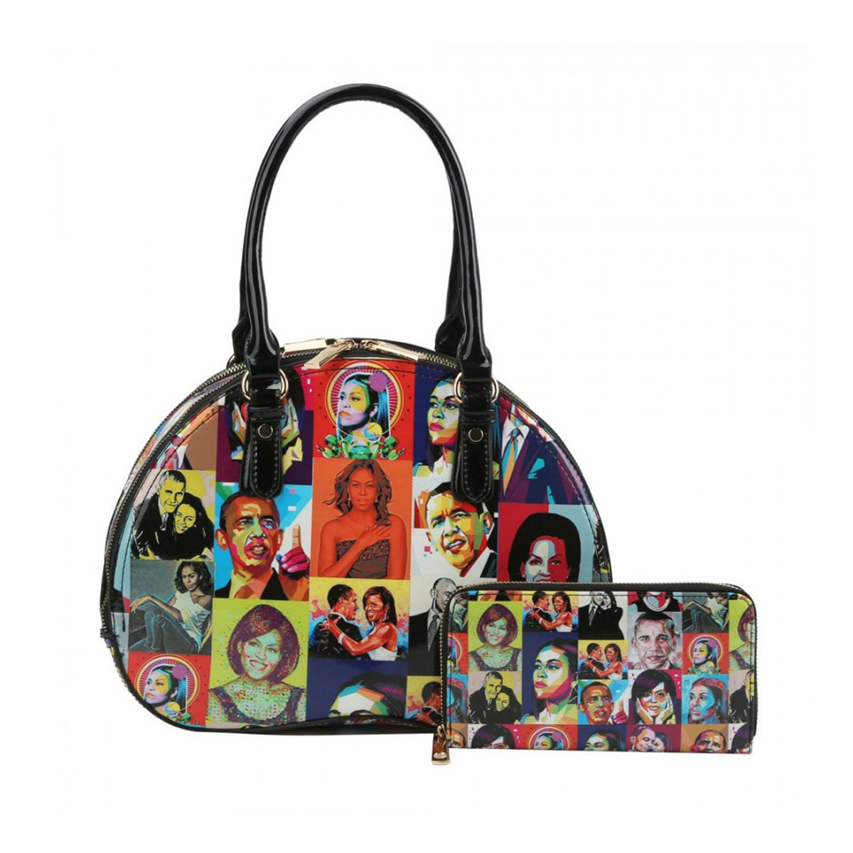 Glossy Michelle Obama Color Collage Half Moon 2-in-1 Bags