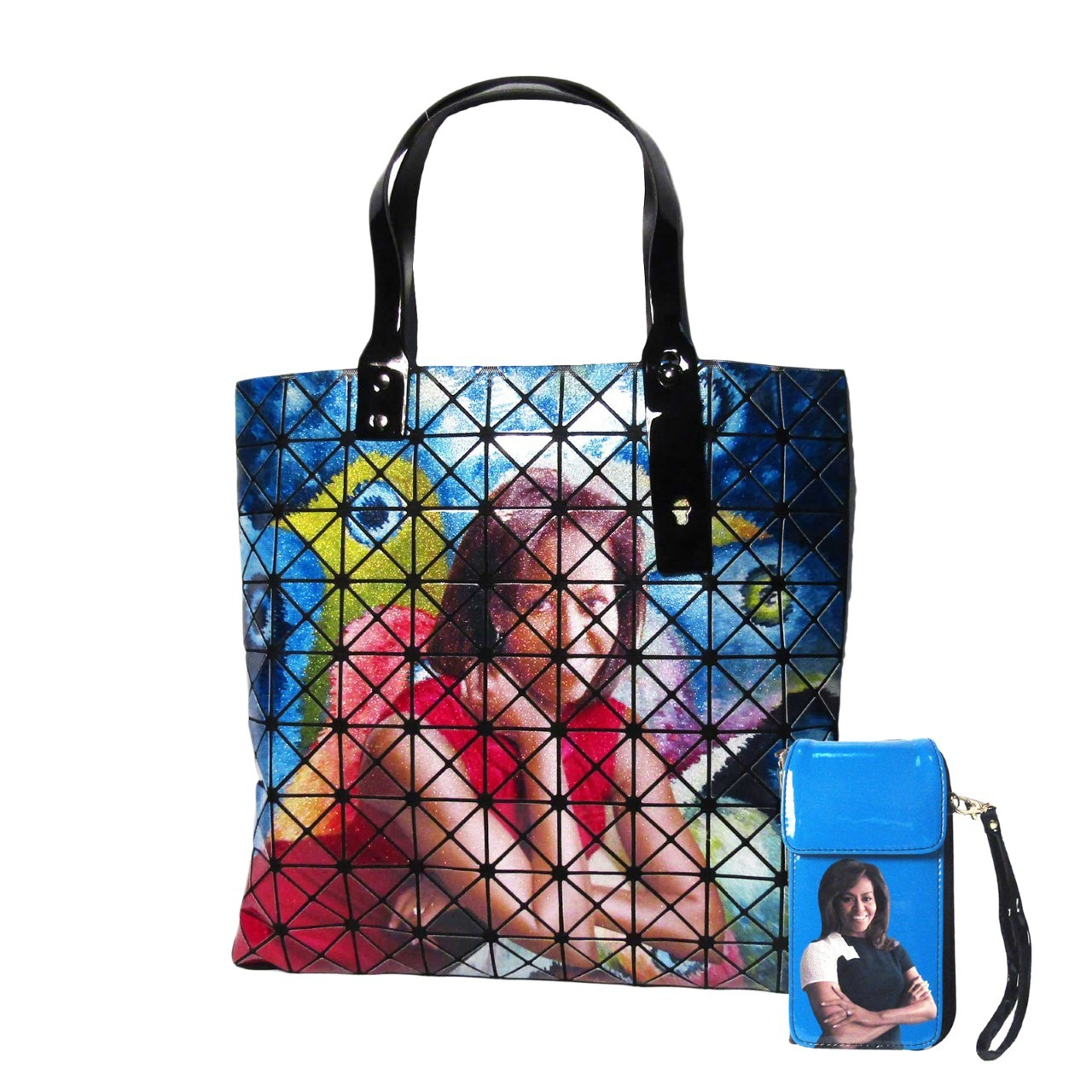 Glossy Colorful Aurora First Lady Michelle Obama Prism Large Tote  Phone Case2 in 1 Case Bags