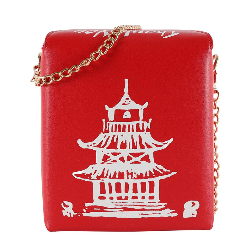 Whimsical White Chinese Takeout Box Top Handle Clutch Bag