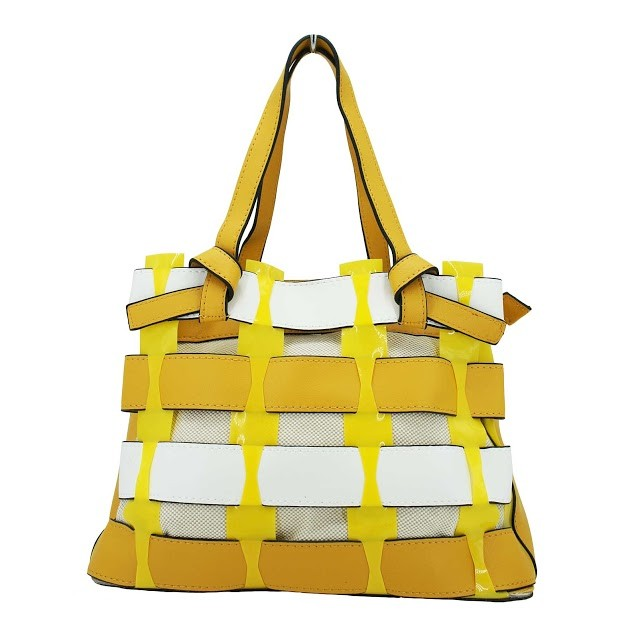 Inspired Oversize Yellow White 3 In 1 Woven Tote Bag