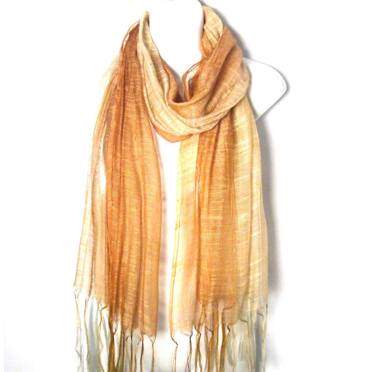 Romantic Bronze Silk And Viscose Ombre Shawl/Wrap