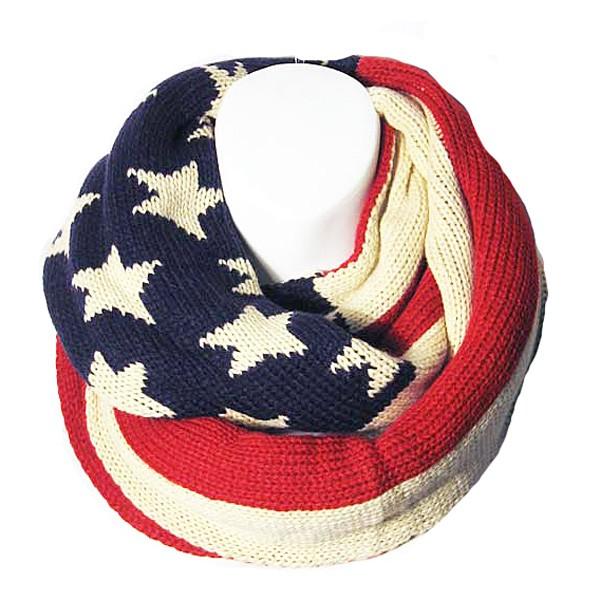 New American Flag Print Knit Infinity Loop Scarf